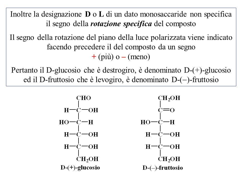 Inoltre la designazione D o L di un dato monosaccaride non specifica il segno della rotazione specifica del composto