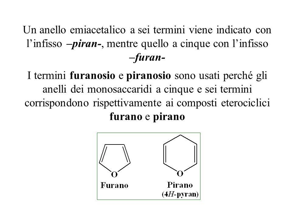 Un anello emiacetalico a sei termini viene indicato con l'infisso –piran-, mentre quello a cinque con l'infisso –furan-