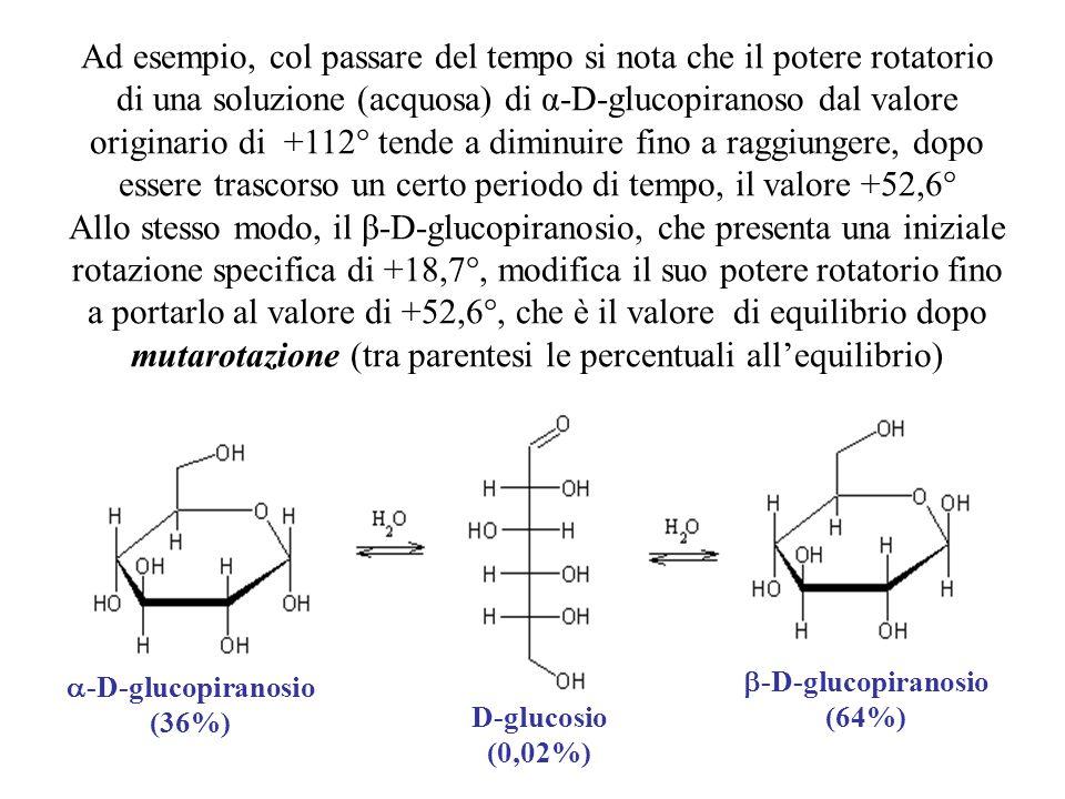 Ad esempio, col passare del tempo si nota che il potere rotatorio di una soluzione (acquosa) di α-D-glucopiranoso dal valore originario di +112° tende a diminuire fino a raggiungere, dopo essere trascorso un certo periodo di tempo, il valore +52,6°