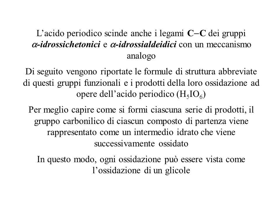 L'acido periodico scinde anche i legami C-C dei gruppi