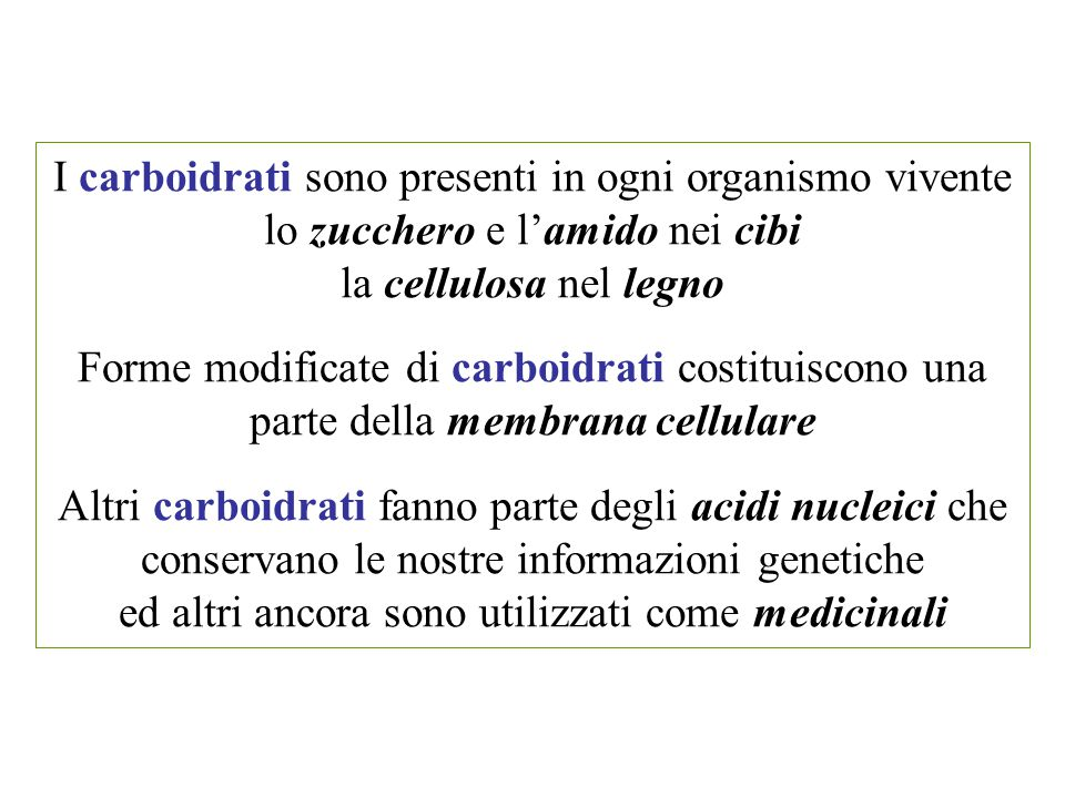 I carboidrati sono presenti in ogni organismo vivente