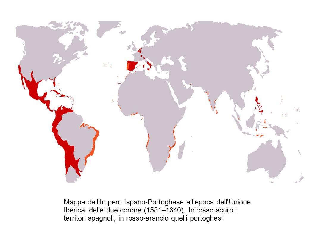 Mappa dell Impero Ispano-Portoghese all epoca dell Unione Iberica delle due corone (1581–1640).