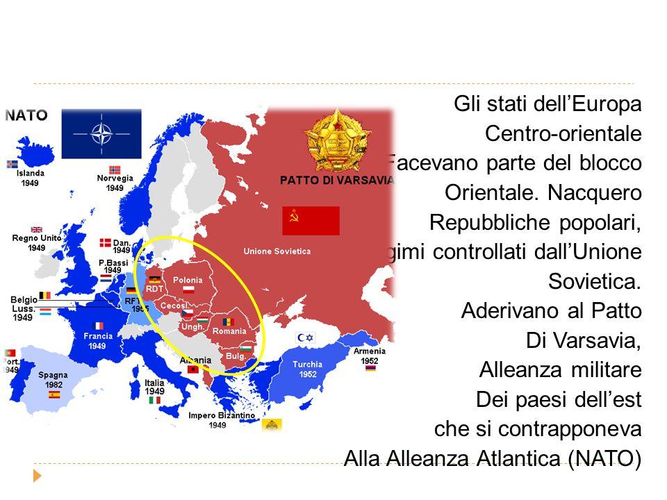 Gli stati dell'Europa Centro-orientale. Facevano parte del blocco. Orientale. Nacquero. Repubbliche popolari,