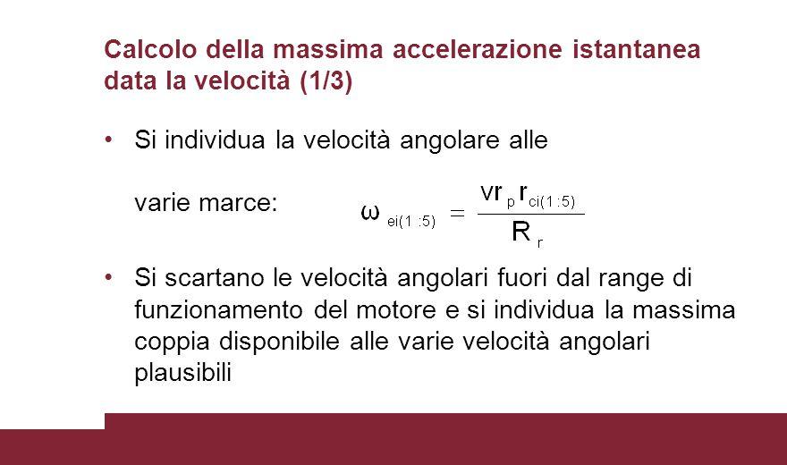 Calcolo della massima accelerazione istantanea data la velocità (1/3)