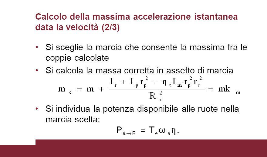 Calcolo della massima accelerazione istantanea data la velocità (2/3)