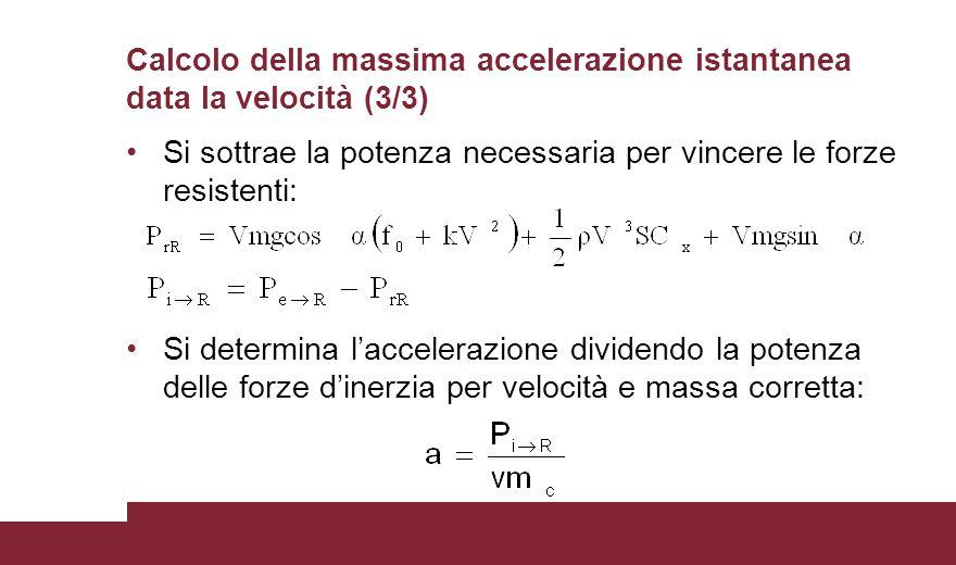 Calcolo della massima accelerazione istantanea data la velocità (3/3)