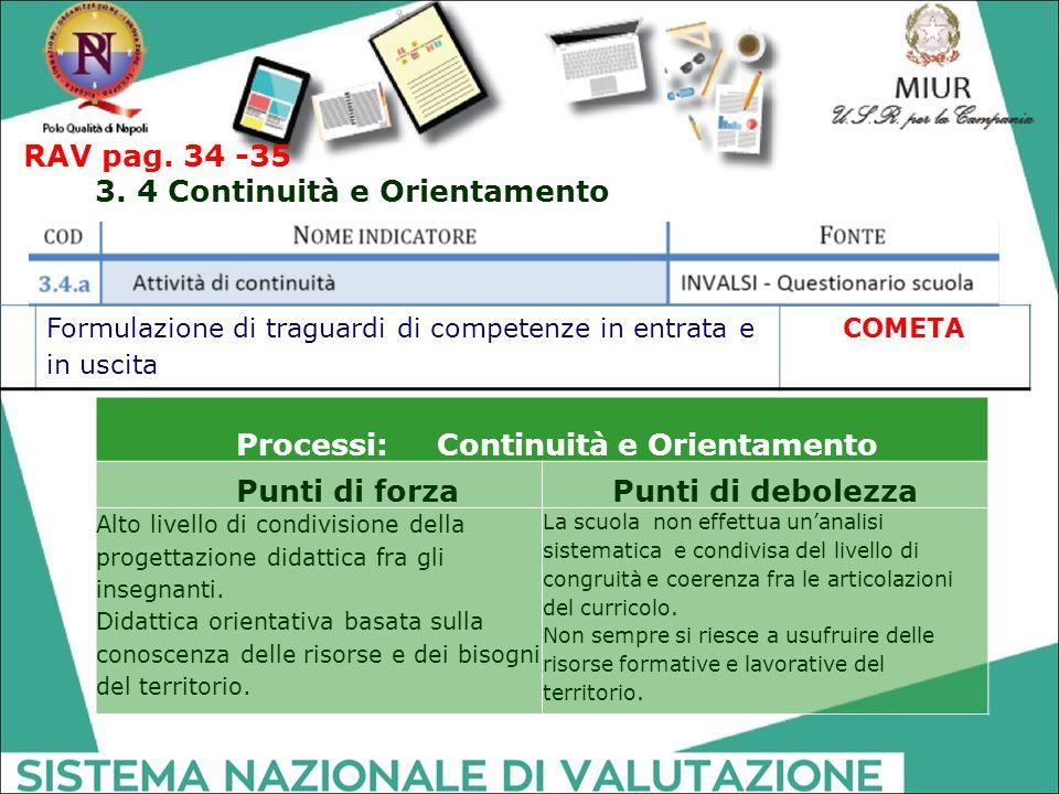 3. 4 Continuità e Orientamento Processi: Continuità e Orientamento
