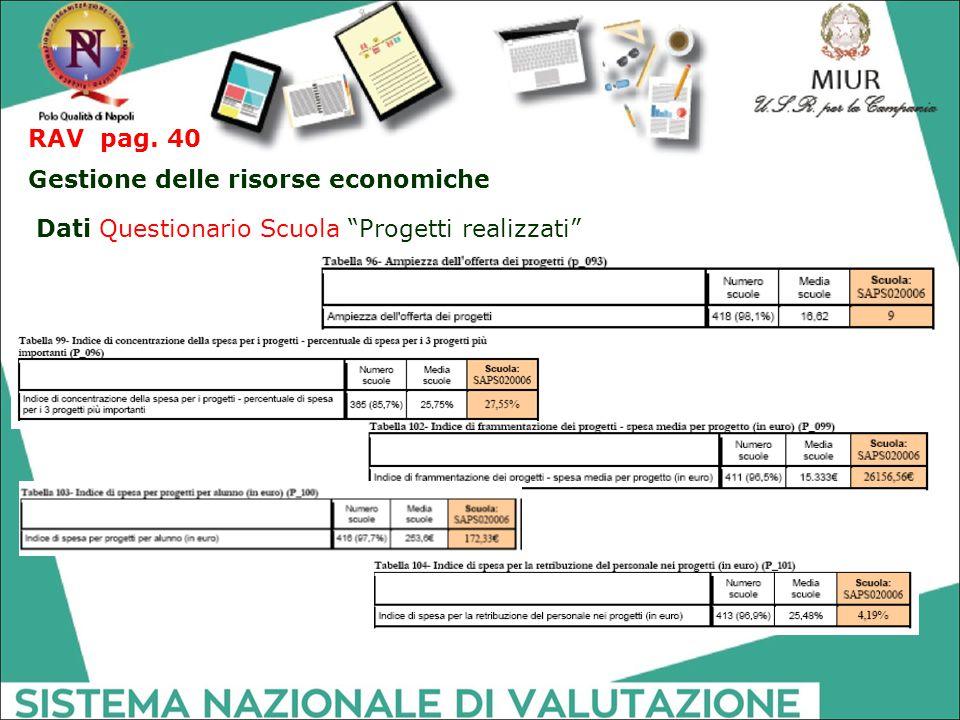 RAV pag. 40 Gestione delle risorse economiche Dati Questionario Scuola Progetti realizzati