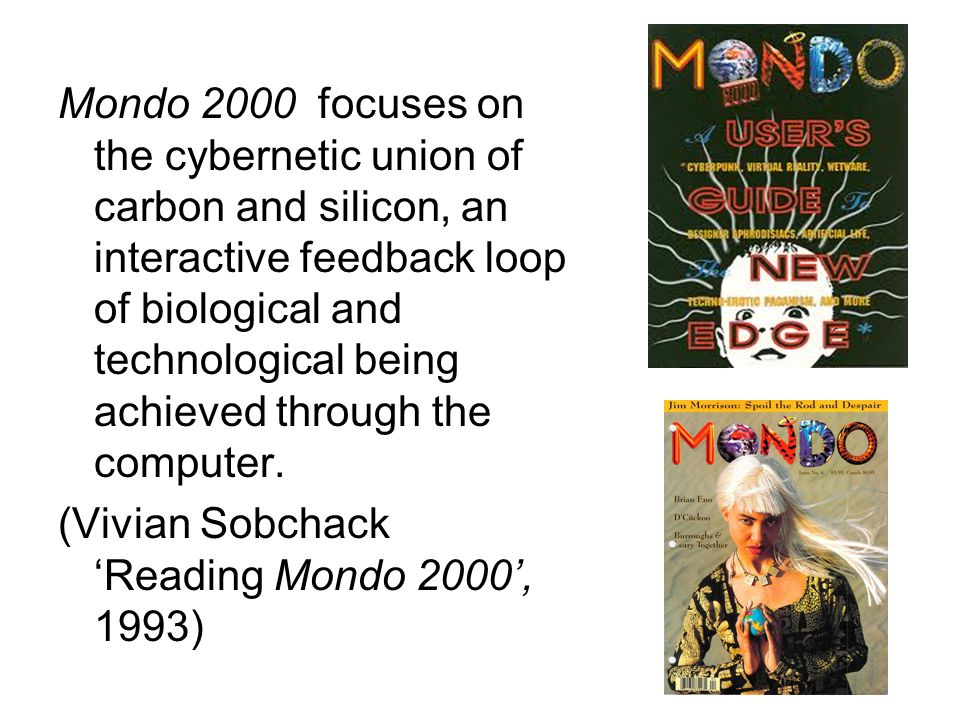 Mondo 2000 focuses on the cybernetic union of carbon and silicon, an interactive feedback loop of biological and technological being achieved through the computer.