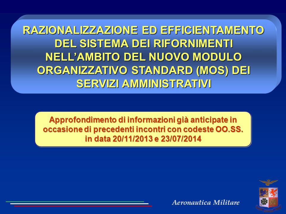 RAZIONALIZZAZIONE ED EFFICIENTAMENTO DEL SISTEMA DEI RIFORNIMENTI NELL'AMBITO DEL NUOVO MODULO ORGANIZZATIVO STANDARD (MOS) DEI SERVIZI AMMINISTRATIVI