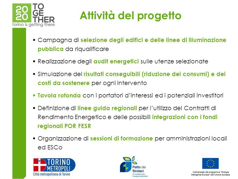 Attività del progetto Campagna di selezione degli edifici e delle linee di illuminazione pubblica da riqualificare.