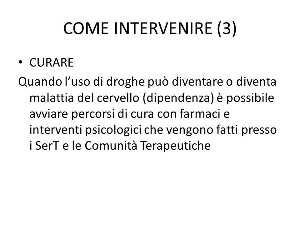 COME INTERVENIRE (3) CURARE