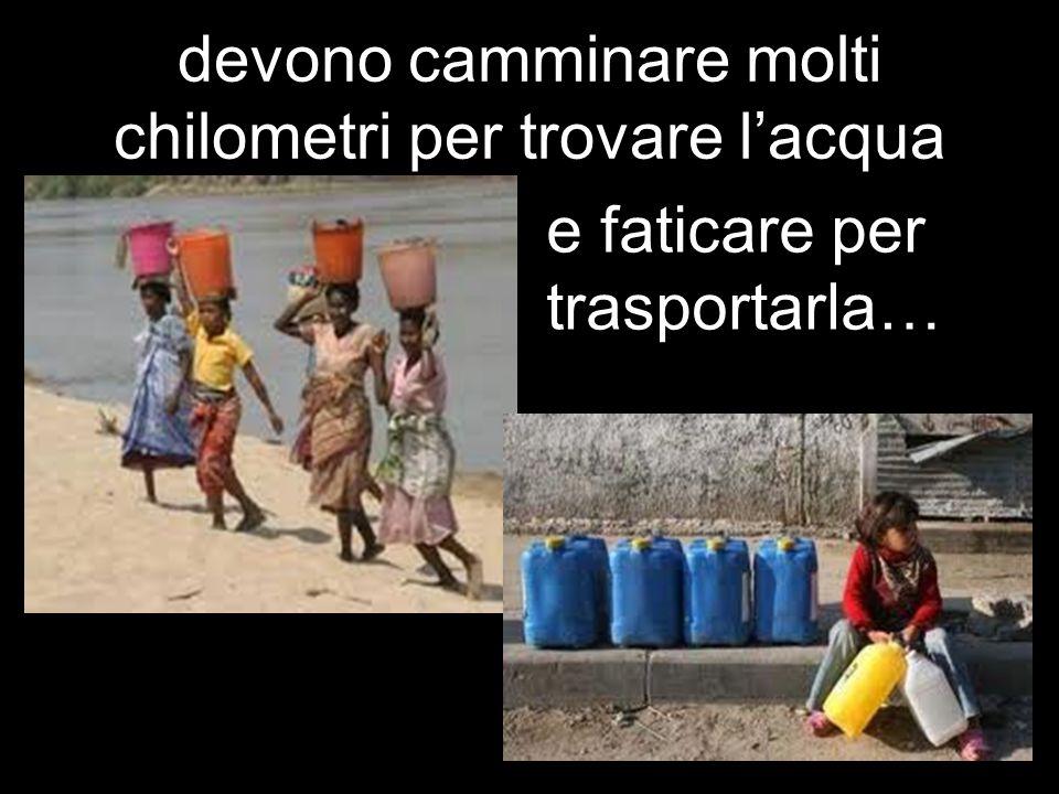devono camminare molti chilometri per trovare l'acqua
