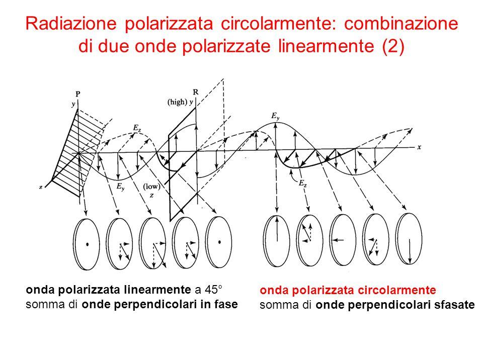 Radiazione polarizzata circolarmente: combinazione di due onde polarizzate linearmente (2)
