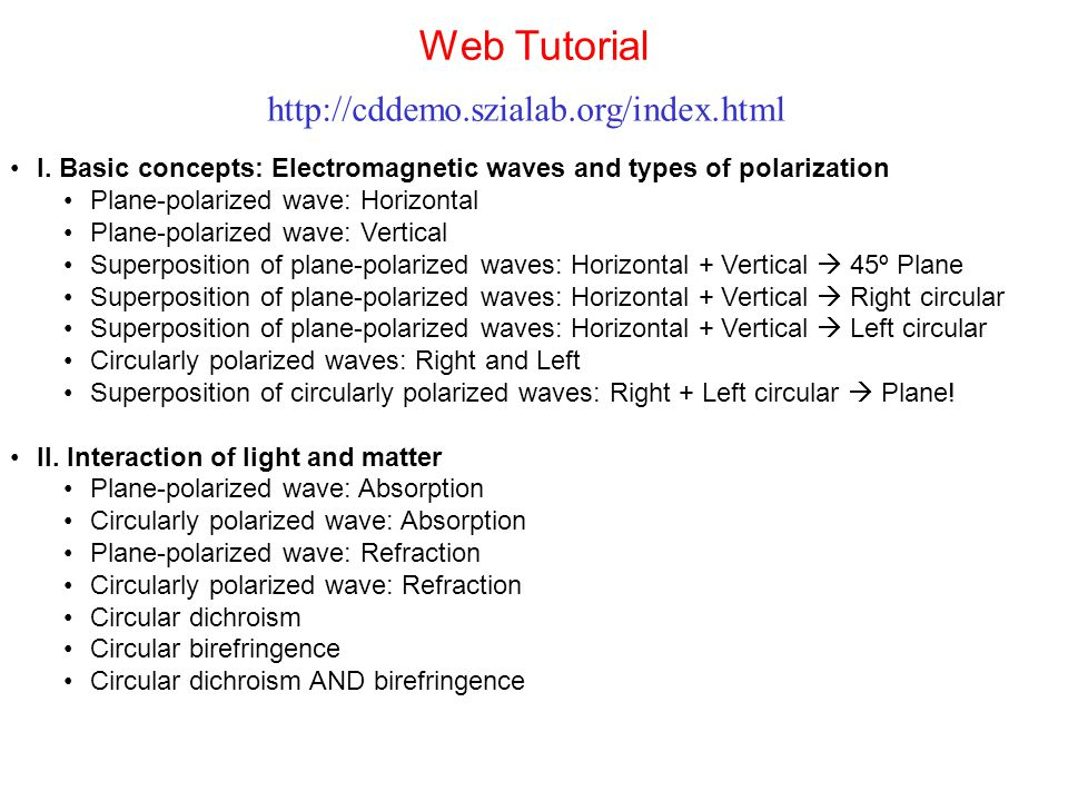 Web Tutorial http://cddemo.szialab.org/index.html