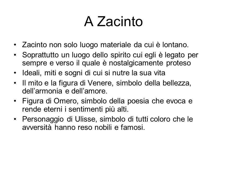 A Zacinto Zacinto non solo luogo materiale da cui è lontano.