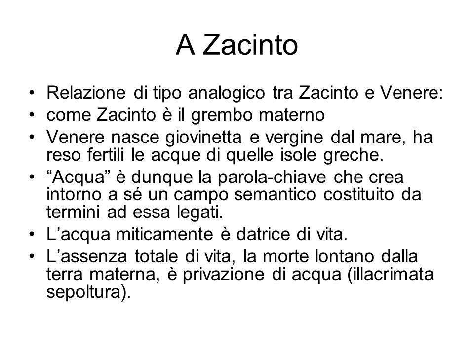 A Zacinto Relazione di tipo analogico tra Zacinto e Venere: