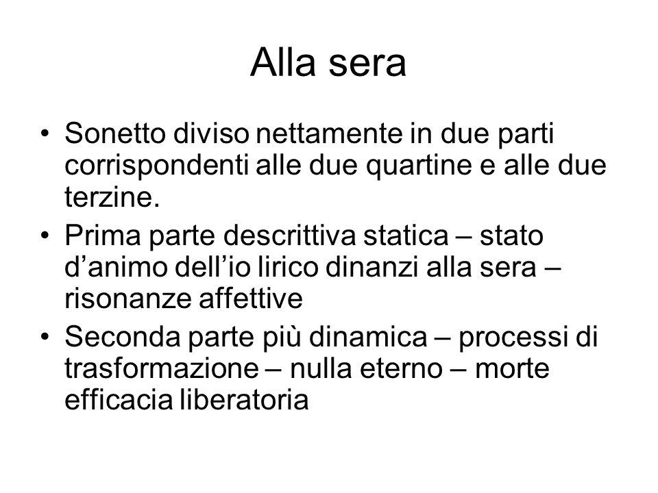 Alla sera Sonetto diviso nettamente in due parti corrispondenti alle due quartine e alle due terzine.
