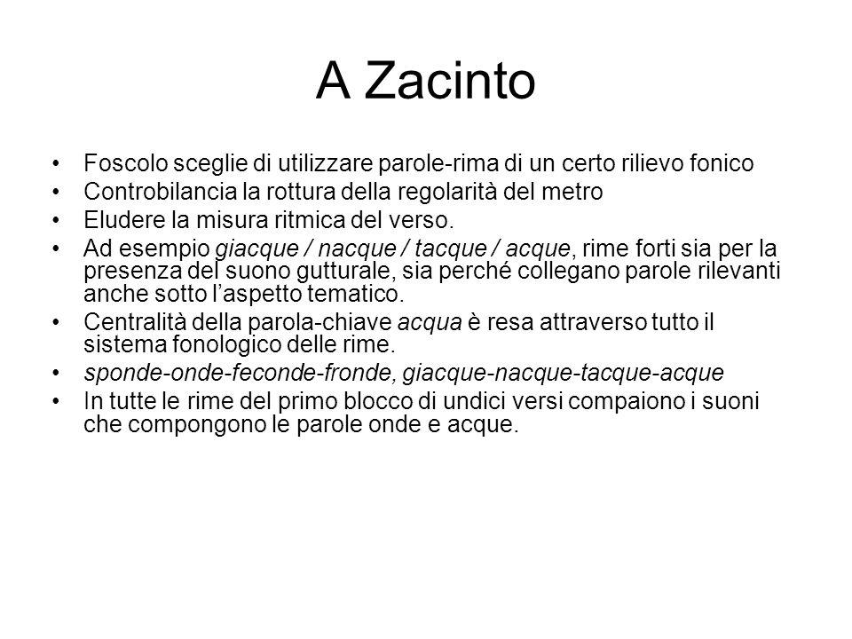 A Zacinto Foscolo sceglie di utilizzare parole-rima di un certo rilievo fonico. Controbilancia la rottura della regolarità del metro.