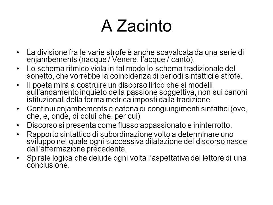 A Zacinto La divisione fra le varie strofe è anche scavalcata da una serie di enjambements (nacque / Venere, l'acque / cantò).