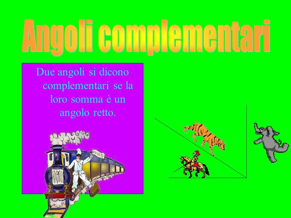 Due angoli si dicono complementari se la loro somma è un angolo retto.