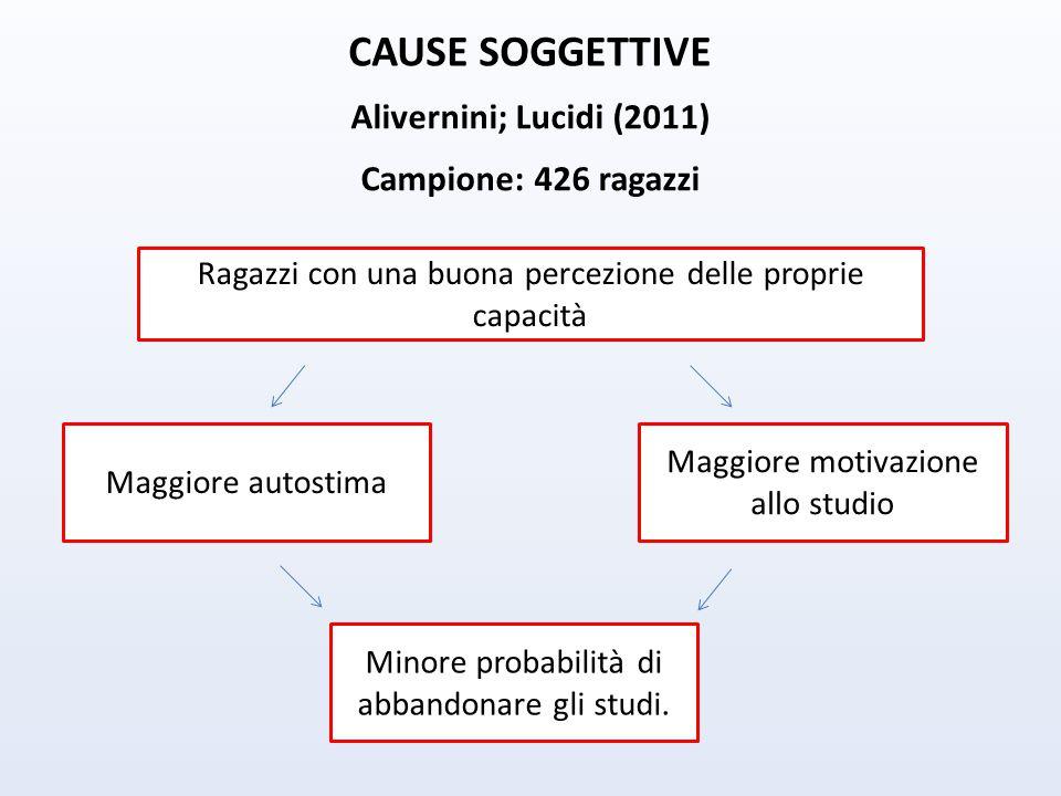 CAUSE SOGGETTIVE Alivernini; Lucidi (2011) Campione: 426 ragazzi