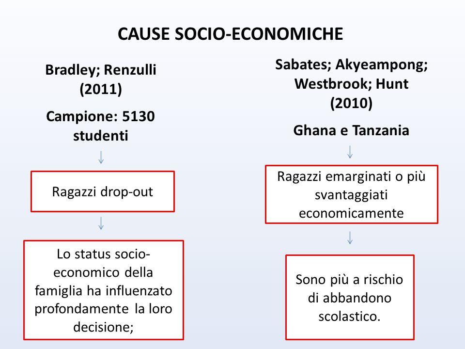 CAUSE SOCIO-ECONOMICHE Sabates; Akyeampong; Westbrook; Hunt (2010)