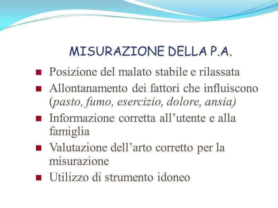 MISURAZIONE DELLA P.A. Posizione del malato stabile e rilassata. Allontanamento dei fattori che influiscono (pasto, fumo, esercizio, dolore, ansia)