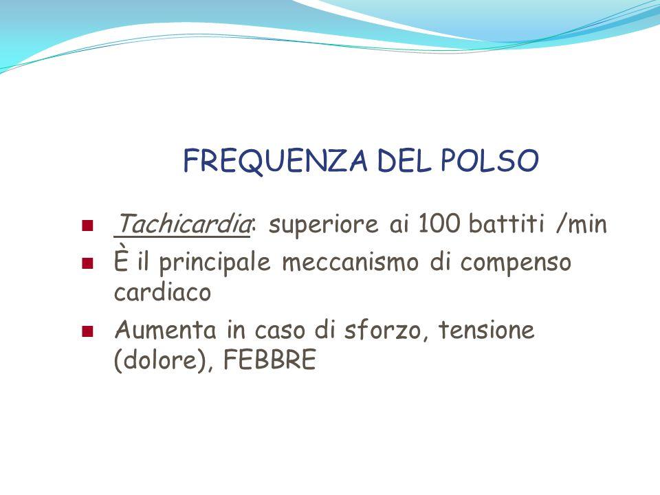 FREQUENZA DEL POLSO Tachicardia: superiore ai 100 battiti /min