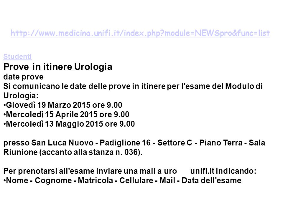 Prove in itinere Urologia