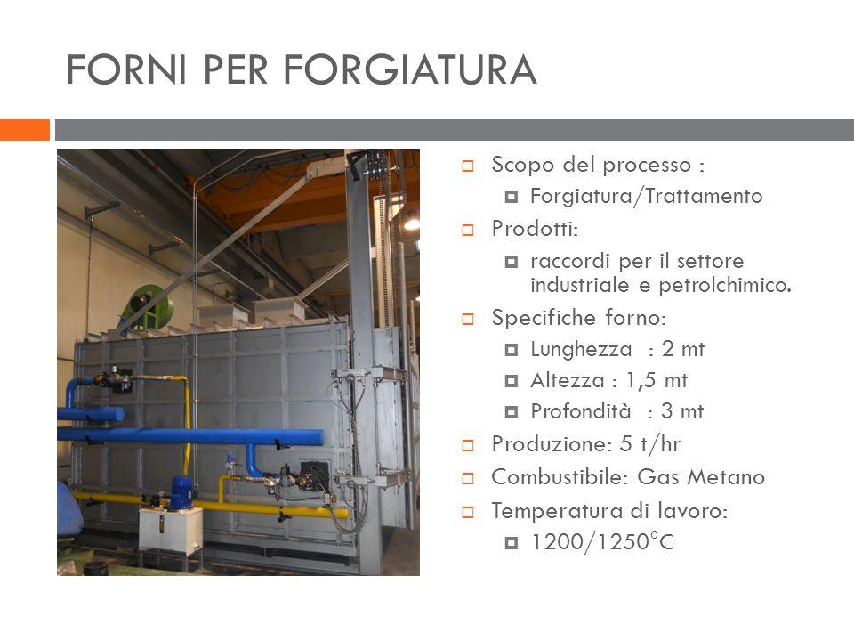 FORNI PER FORGIATURA Scopo del processo : Prodotti: Specifiche forno: