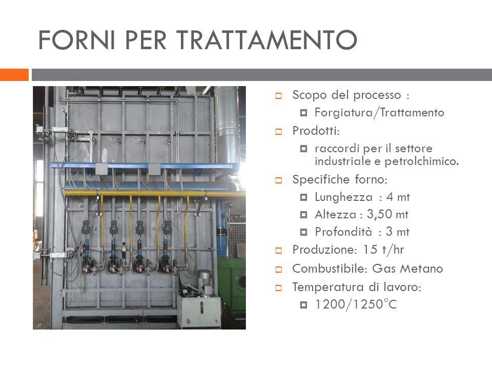 FORNI PER TRATTAMENTO Scopo del processo : Prodotti: Specifiche forno: