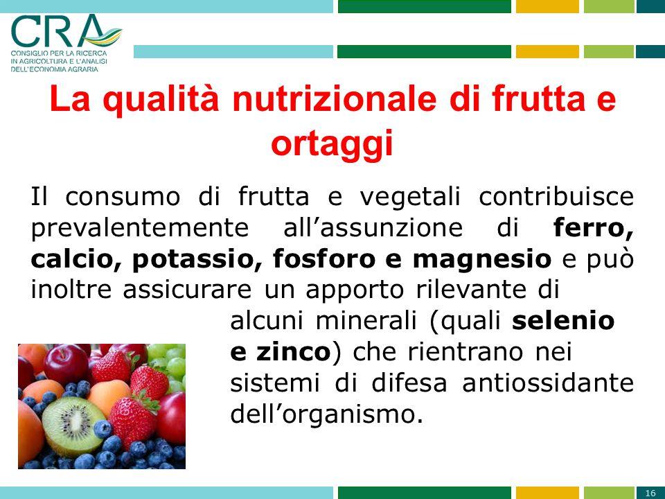 La qualità nutrizionale di frutta e ortaggi