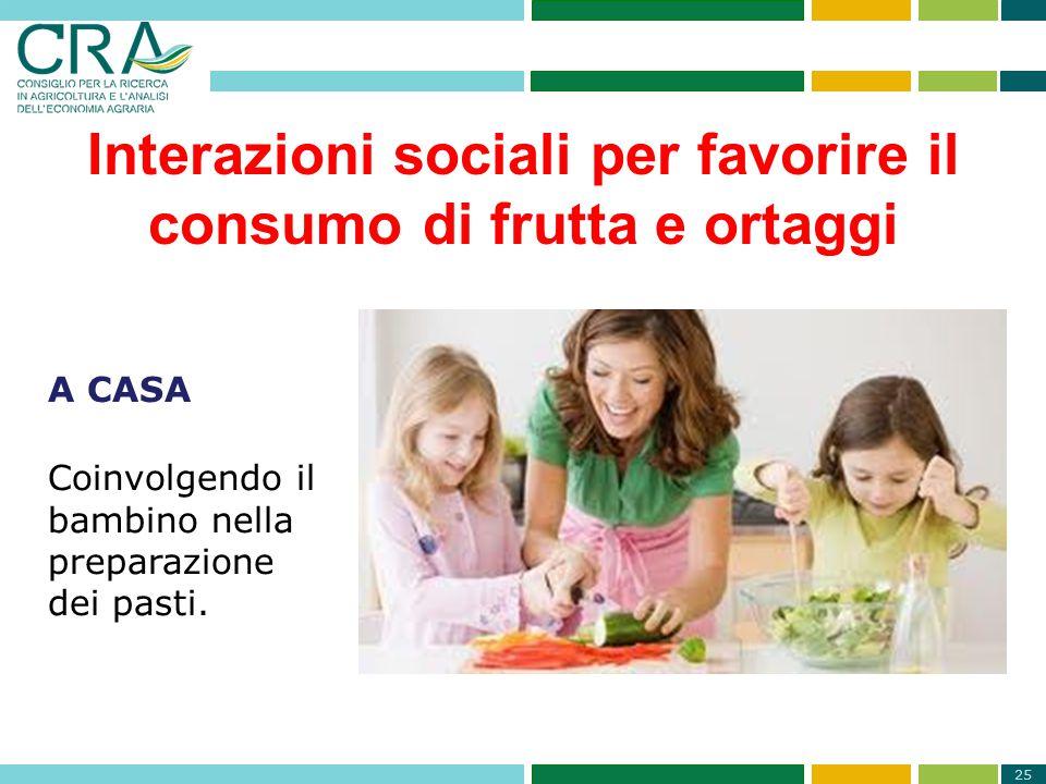 Interazioni sociali per favorire il consumo di frutta e ortaggi