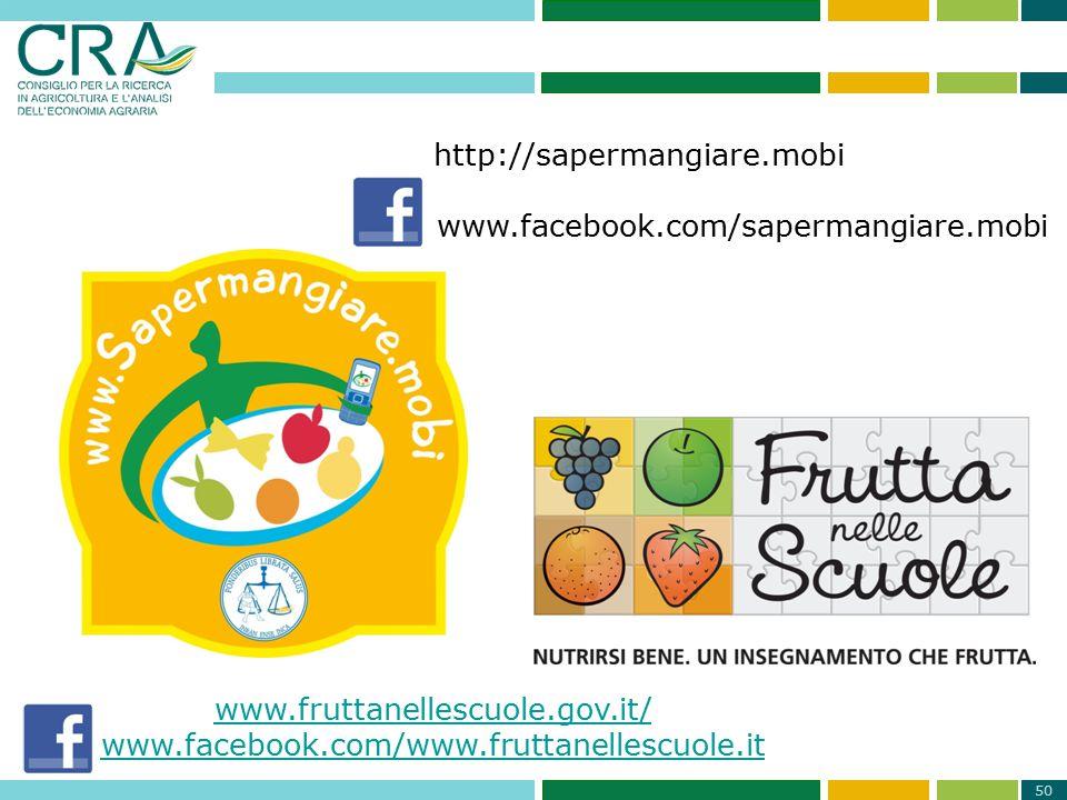 www.facebook.com/sapermangiare.mobi www.fruttanellescuole.gov.it/