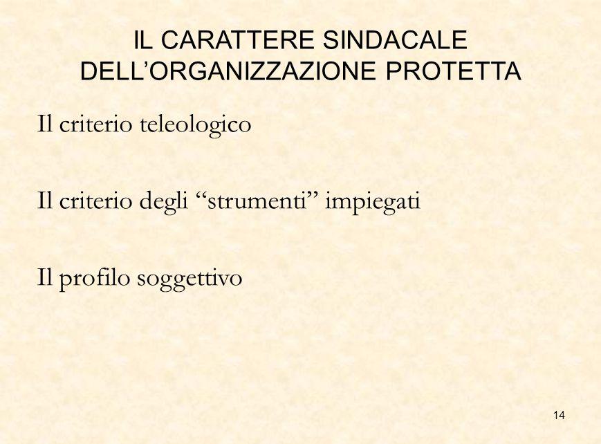 IL CARATTERE SINDACALE DELL'ORGANIZZAZIONE PROTETTA