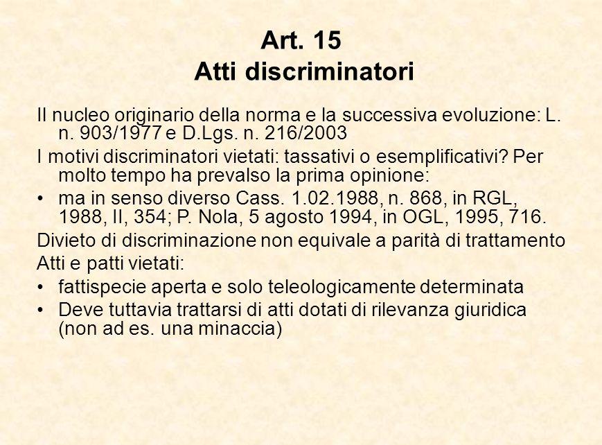 Art. 15 Atti discriminatori