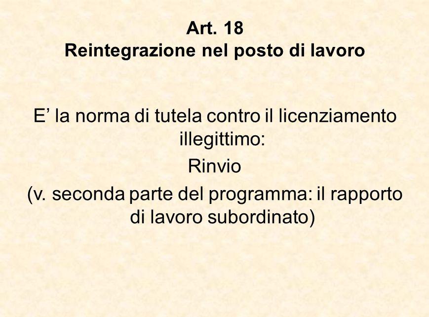 Art. 18 Reintegrazione nel posto di lavoro