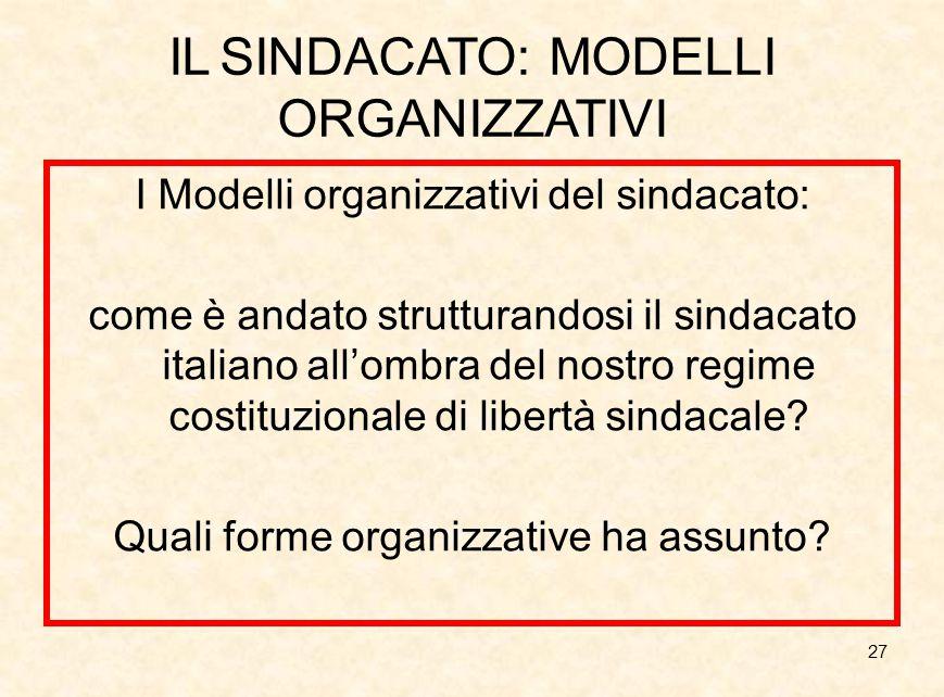 IL SINDACATO: MODELLI ORGANIZZATIVI