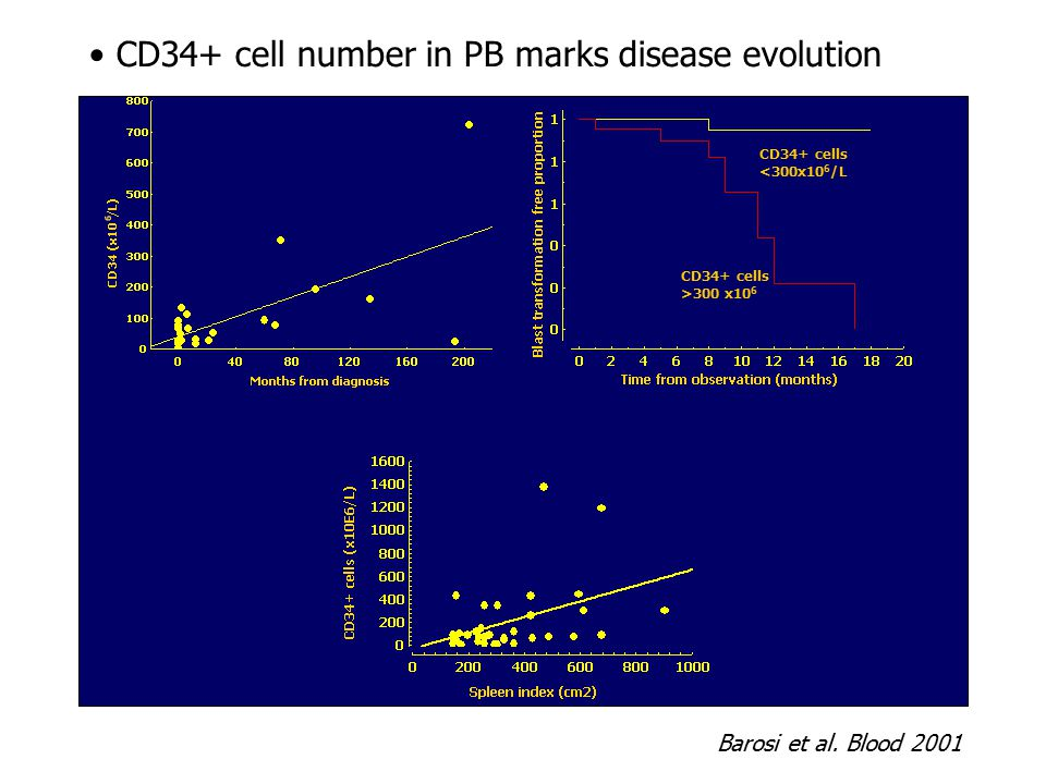 CD34+ cell number in PB marks disease evolution