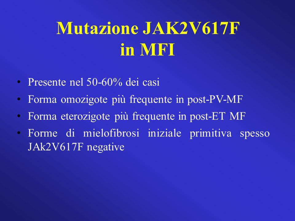 Mutazione JAK2V617F in MFI Presente nel 50-60% dei casi