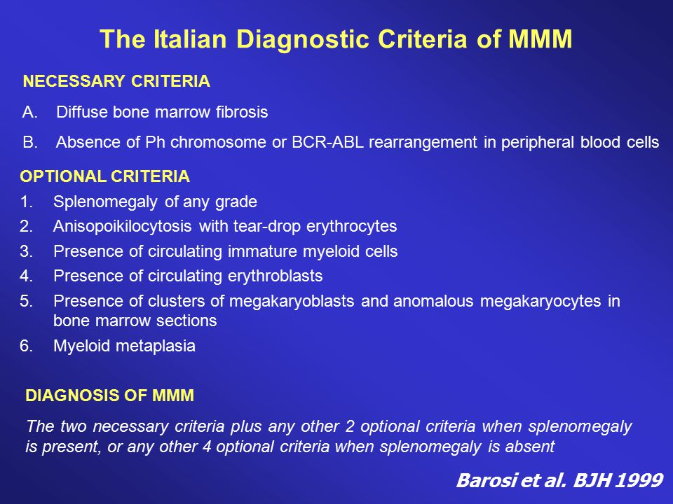 The Italian Diagnostic Criteria of MMM