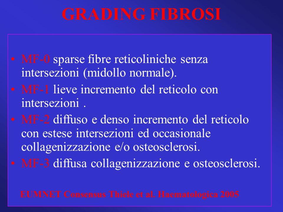GRADING FIBROSI MF-0 sparse fibre reticoliniche senza intersezioni (midollo normale). MF-1 lieve incremento del reticolo con intersezioni .