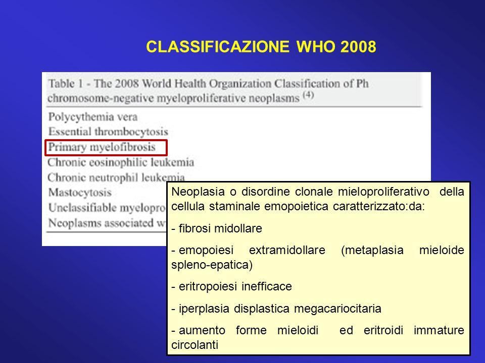 CLASSIFICAZIONE WHO 2008 Neoplasia o disordine clonale mieloproliferativo della cellula staminale emopoietica caratterizzato:da: