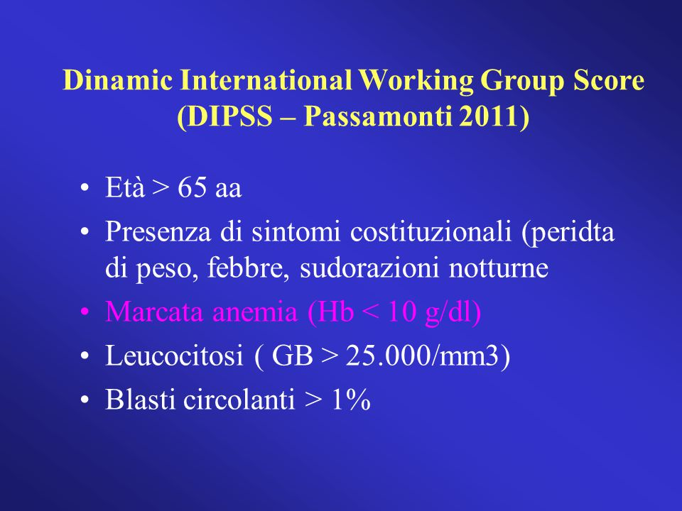 Dinamic International Working Group Score (DIPSS – Passamonti 2011)