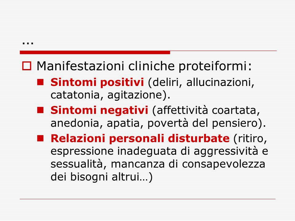 … Manifestazioni cliniche proteiformi: