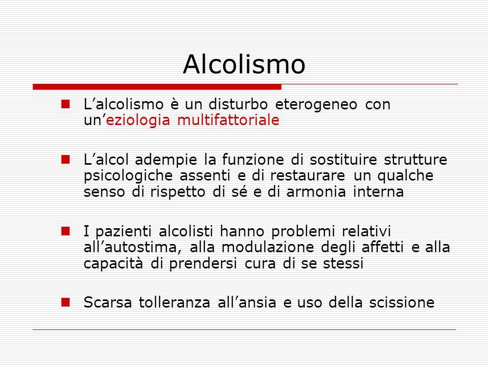 Alcolismo L'alcolismo è un disturbo eterogeneo con un'eziologia multifattoriale.