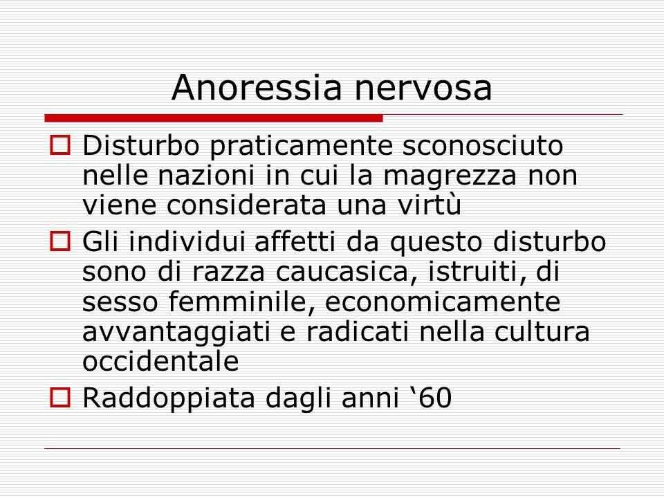 Anoressia nervosa Disturbo praticamente sconosciuto nelle nazioni in cui la magrezza non viene considerata una virtù.