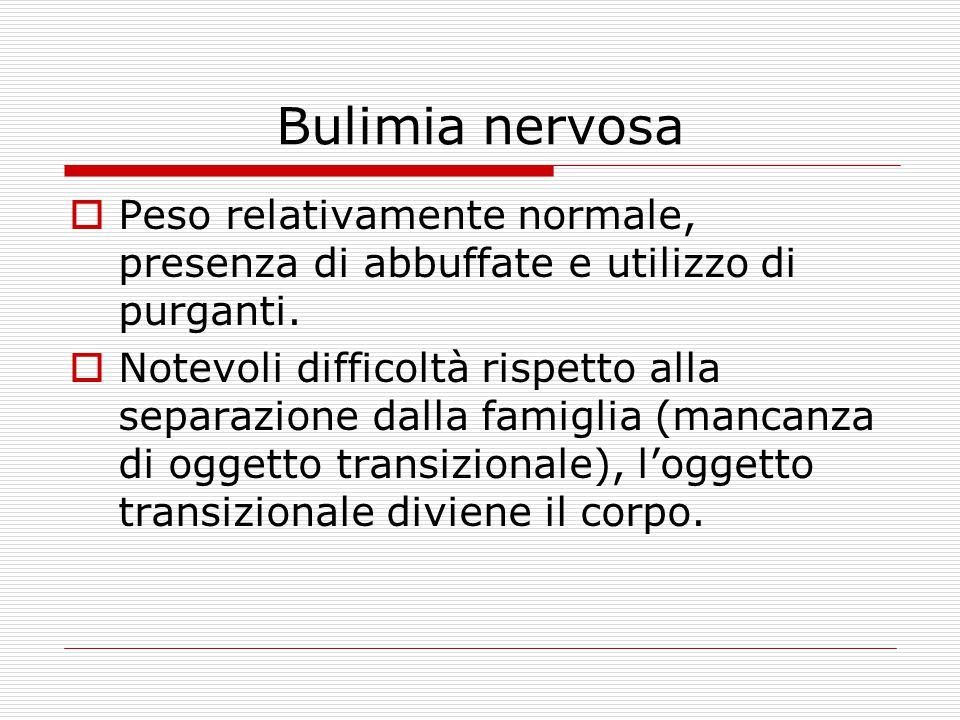 Bulimia nervosa Peso relativamente normale, presenza di abbuffate e utilizzo di purganti.