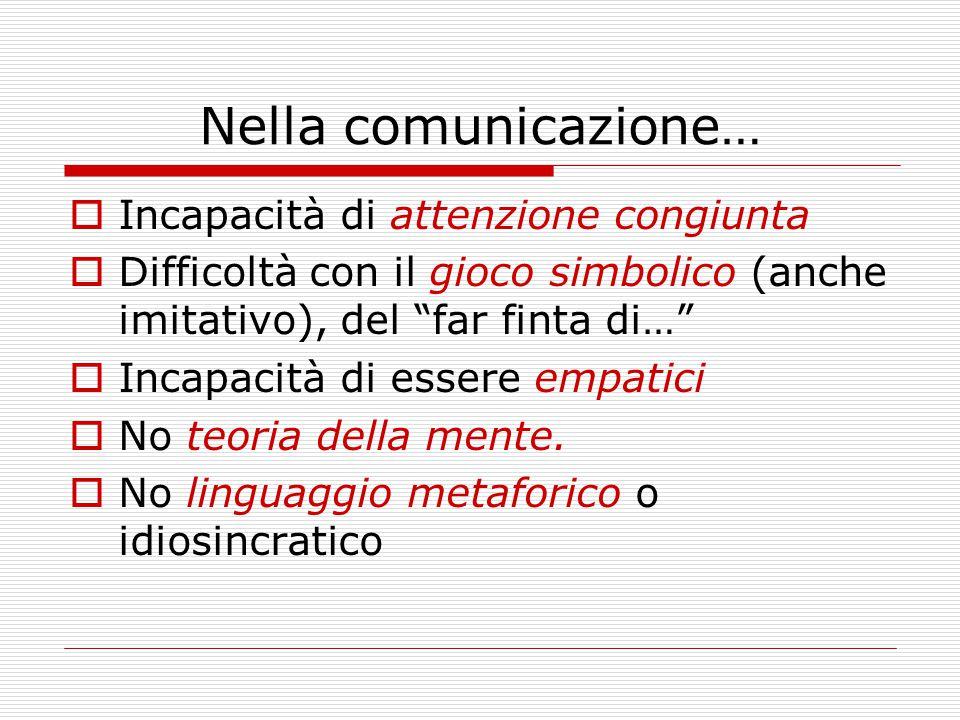 Nella comunicazione… Incapacità di attenzione congiunta